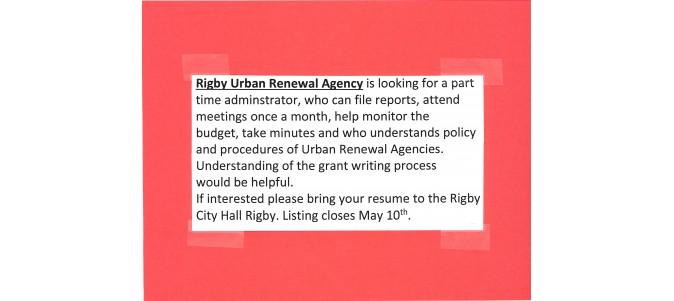 RIGBY URBAN RENEWAL JOB OPENING