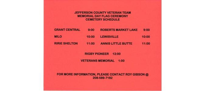 Memorial Day Veterans Cemetery Schedule
